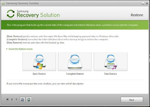 Samsung Recovery Solution to do Samsung Laptop factory reset